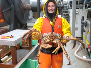 Carwyn Hammond, a NMFS biologist, works in Conservation Engineering to reduce bycatch, related mortality, and impacts on seafloor habitats. Hammond is shown here during a study of unobserved mortality of red king crab.